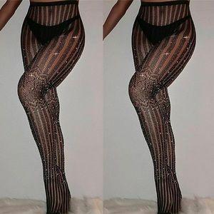 Accessories - Black fishnet shimmer rhinestone stocking hose